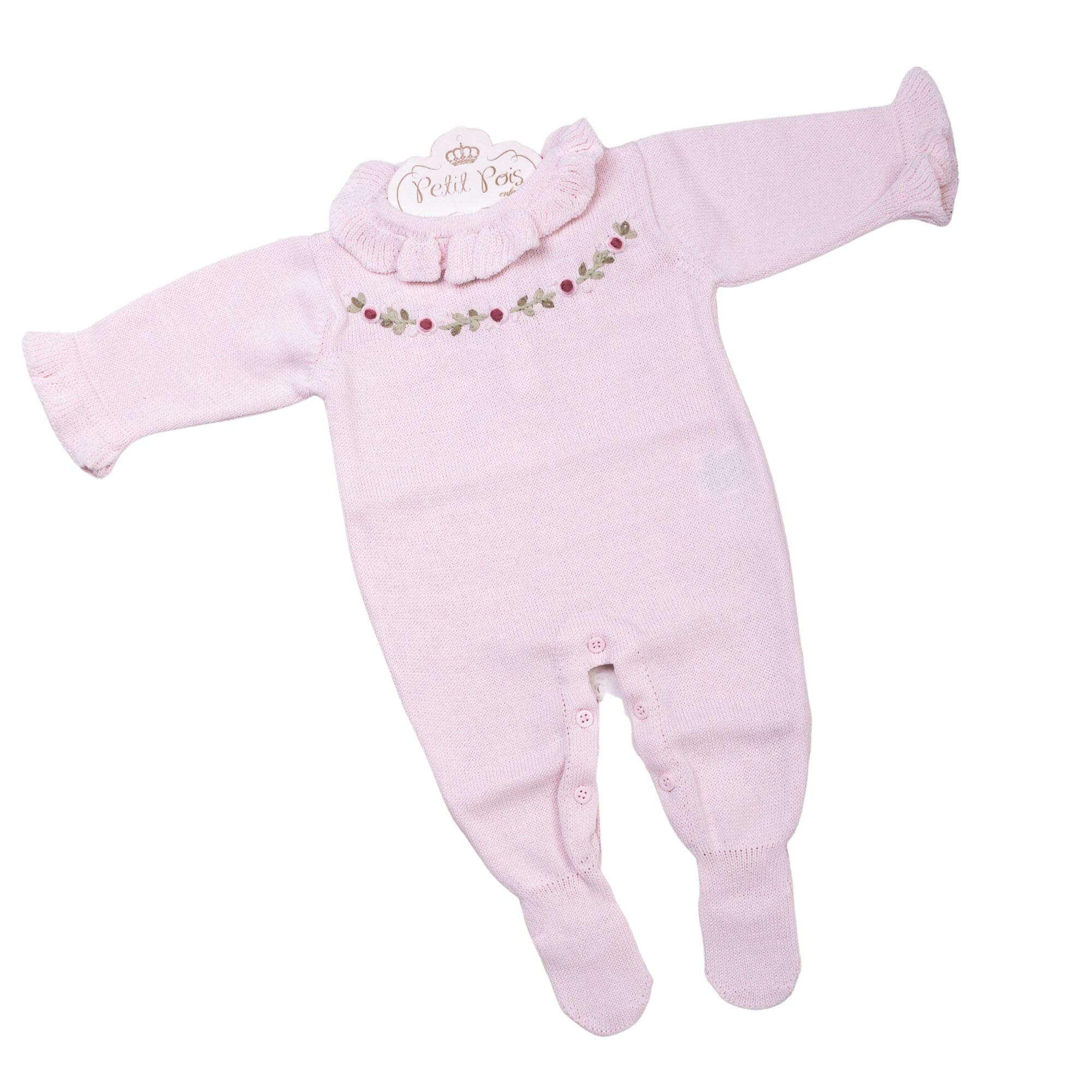 Macacão bebê cordão flores - Rosa pó