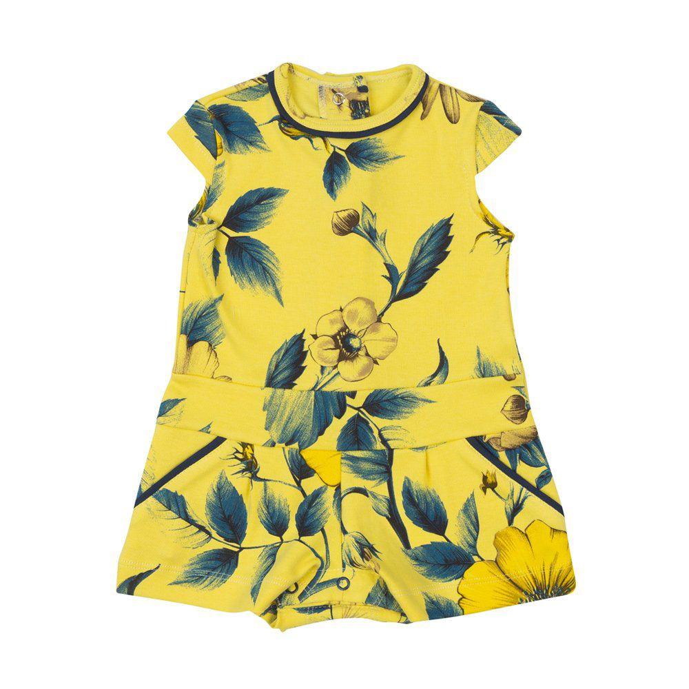 Macaquinho bebê floral - Amarelo