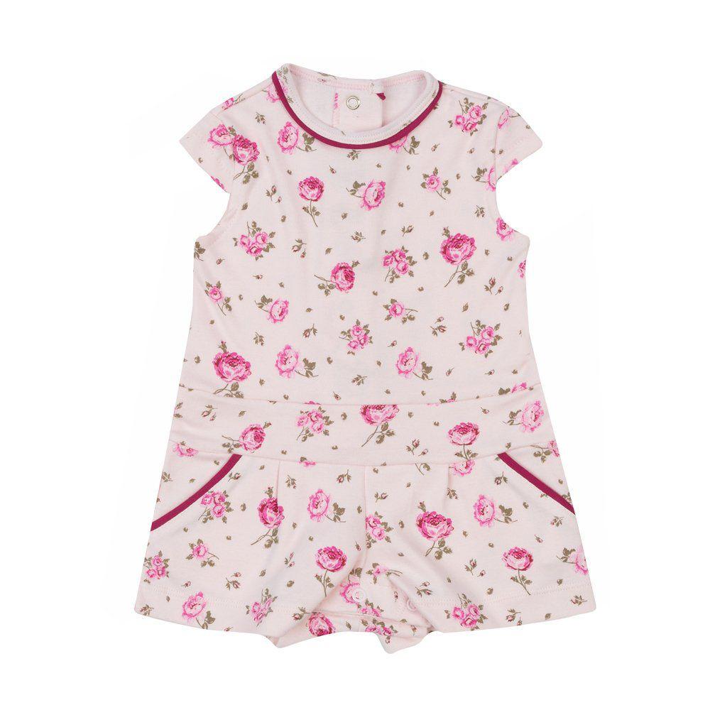 Macaquinho bebê floral - Rosa bebê
