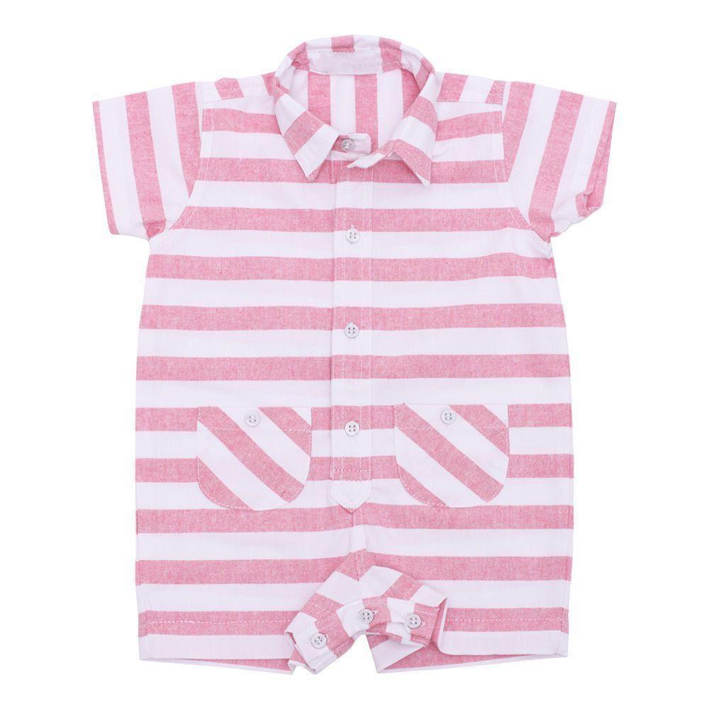 feea2a90c Macacão bebê curto listras - Branco e rosa Venha conhecer nossa ...