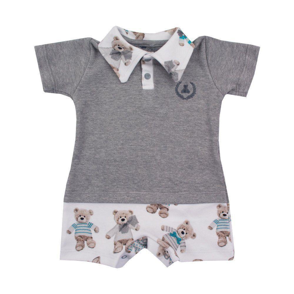 f2cf93318 Macacão bebê curto ursinhos - Cinza e branco Venha conhecer nossa ...