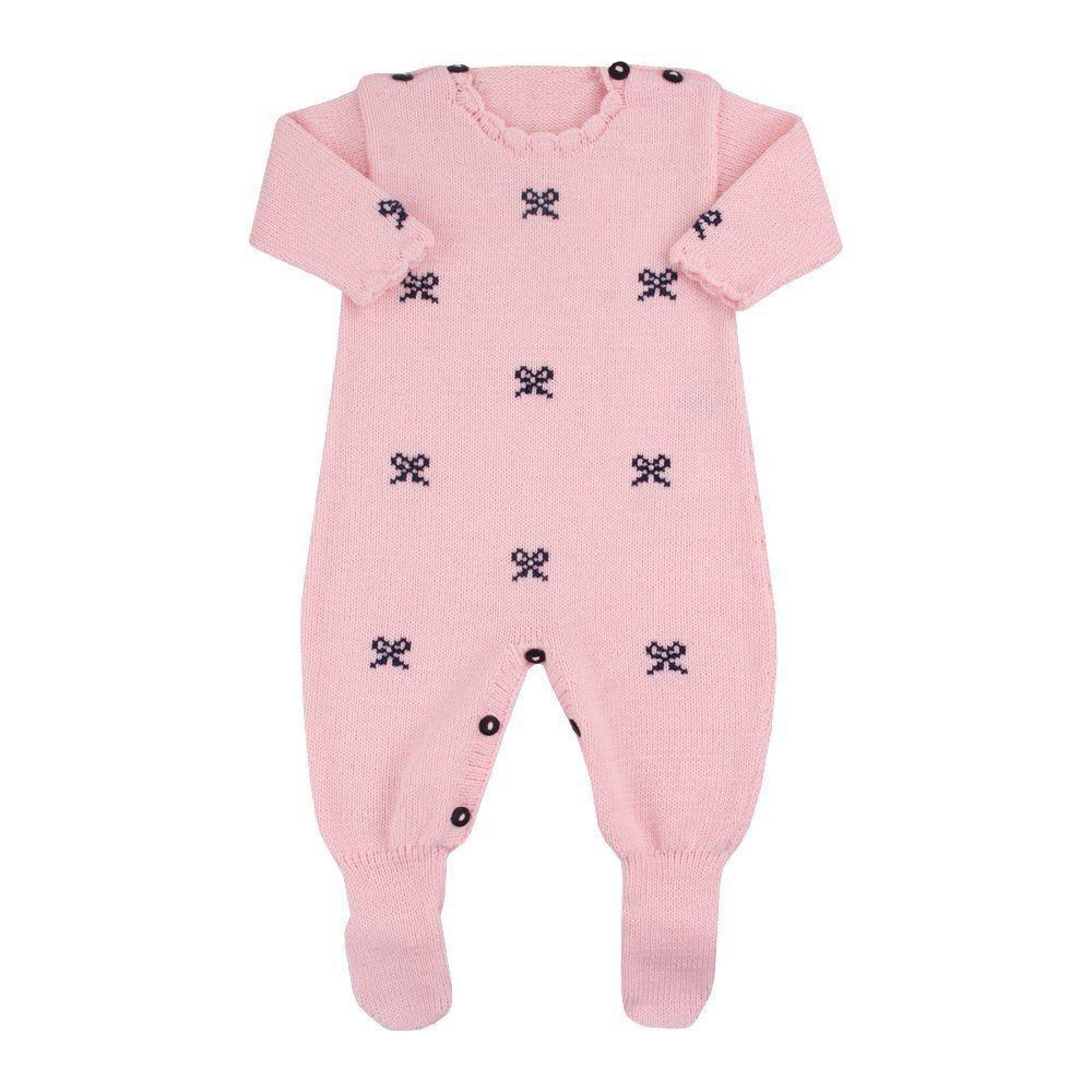 Macacão bebê em tricot com lacinhos - Rosa bebê