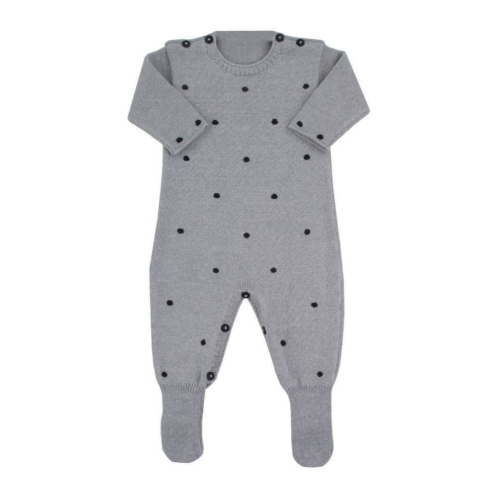 Macacão bebê poás - Cinza