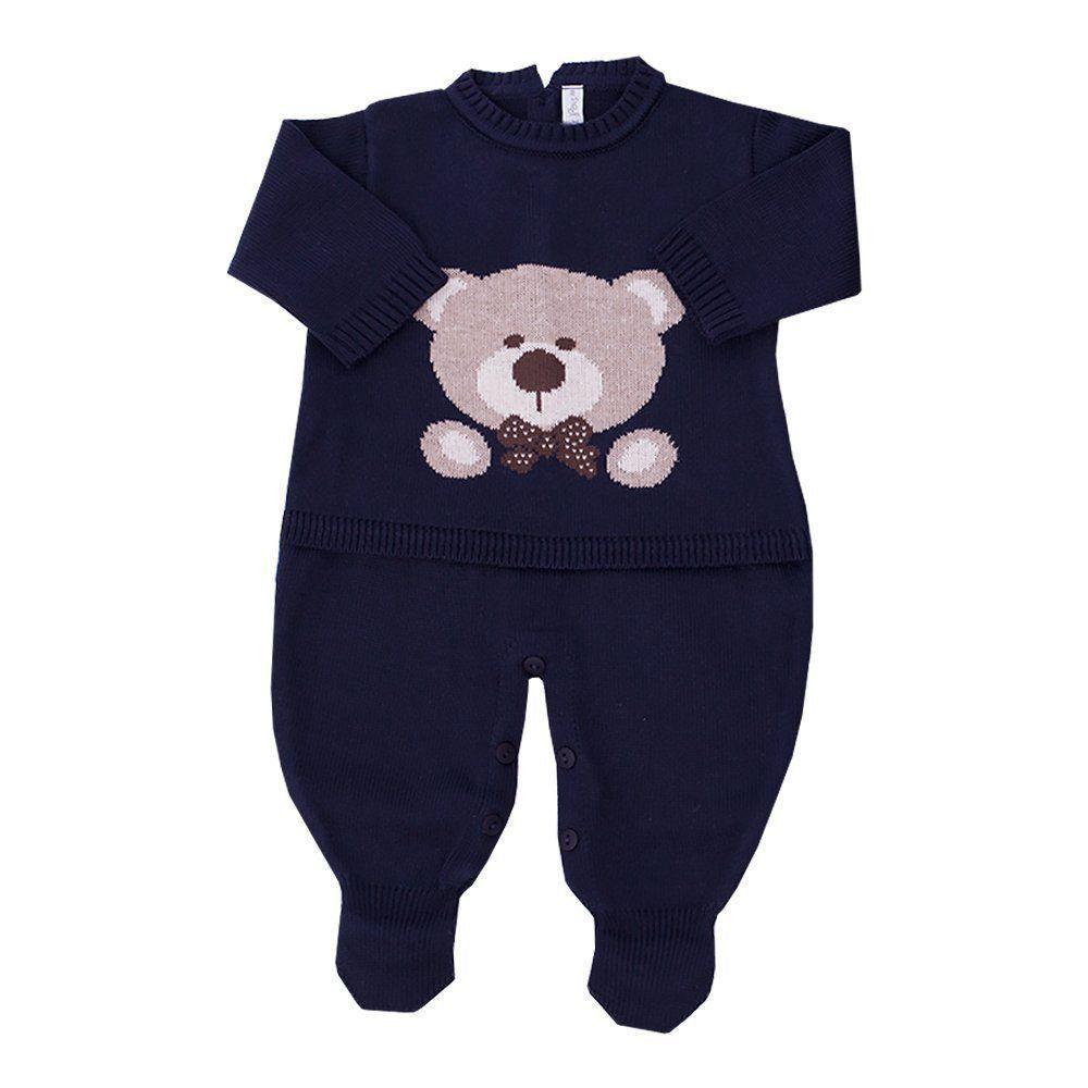 Saída de maternidade masculina macacão urso - Azul profundo