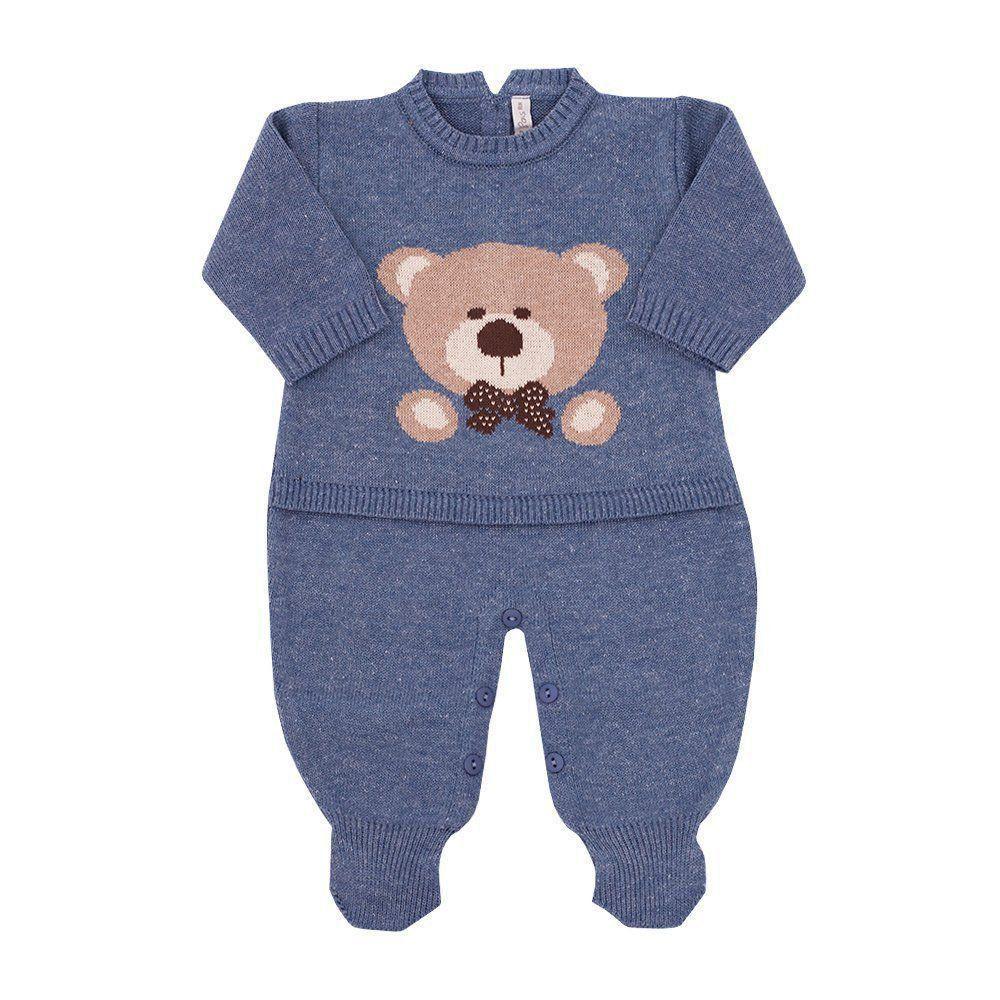 Saída de maternidade masculina macacão urso - Jeans