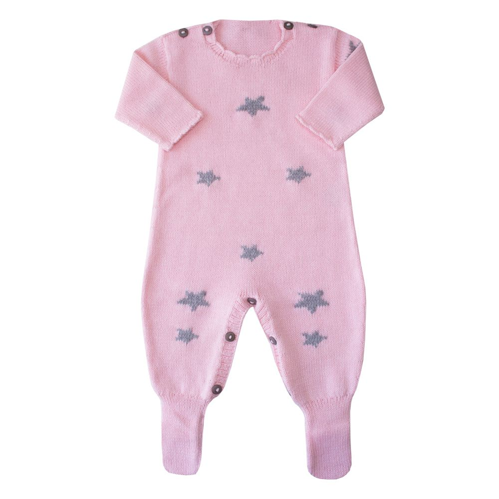 Macacão bebê estrela - Rosa bebê e cinza
