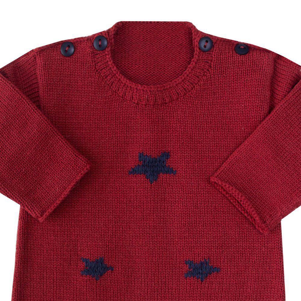 Macacão bebê estrela - Vermelho e azul marinho
