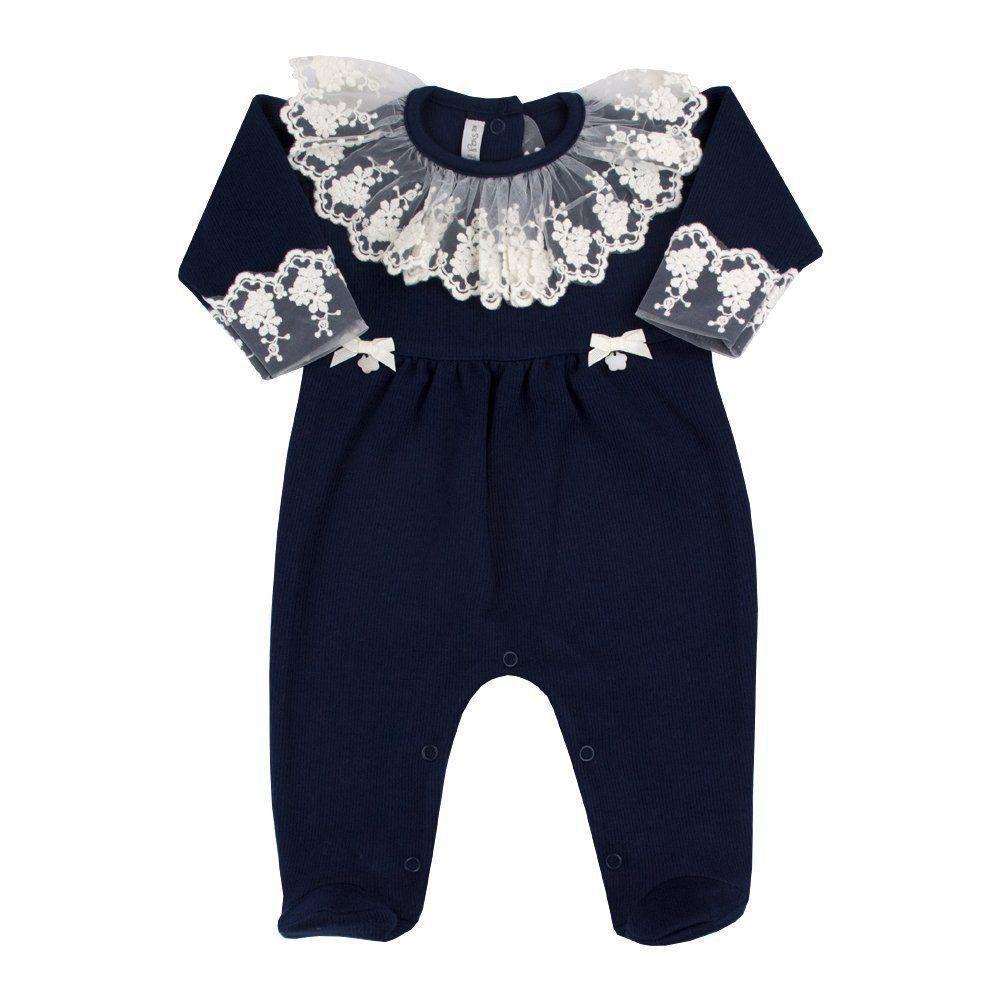 0acafa89ba4494 Macacão bebê feminino - Azul marinho Venha conhecer nossa produtos e ...