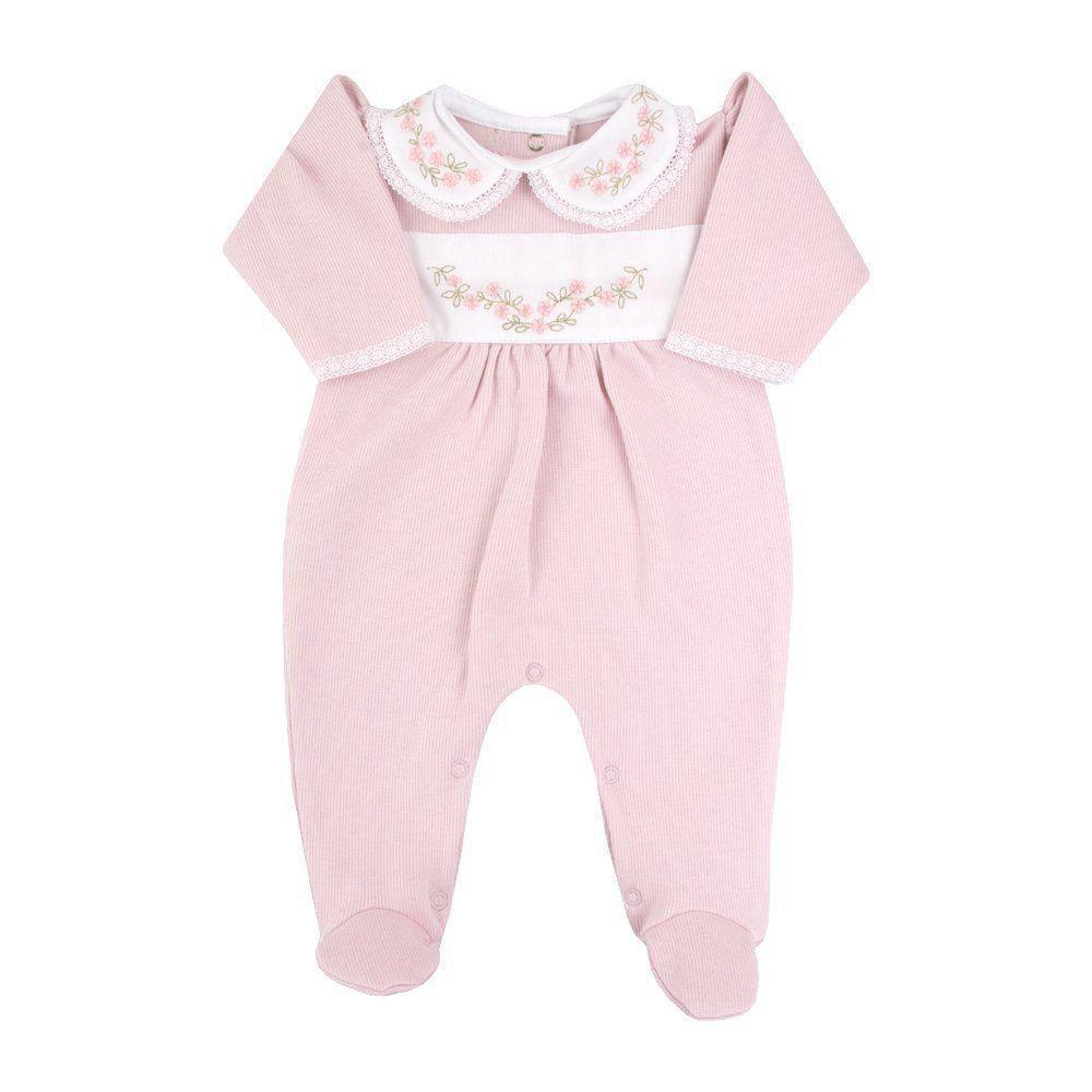 c04dc158f3ab90 Macacão bebê feminino bordado - Rosa pó Venha conhecer nossa ...