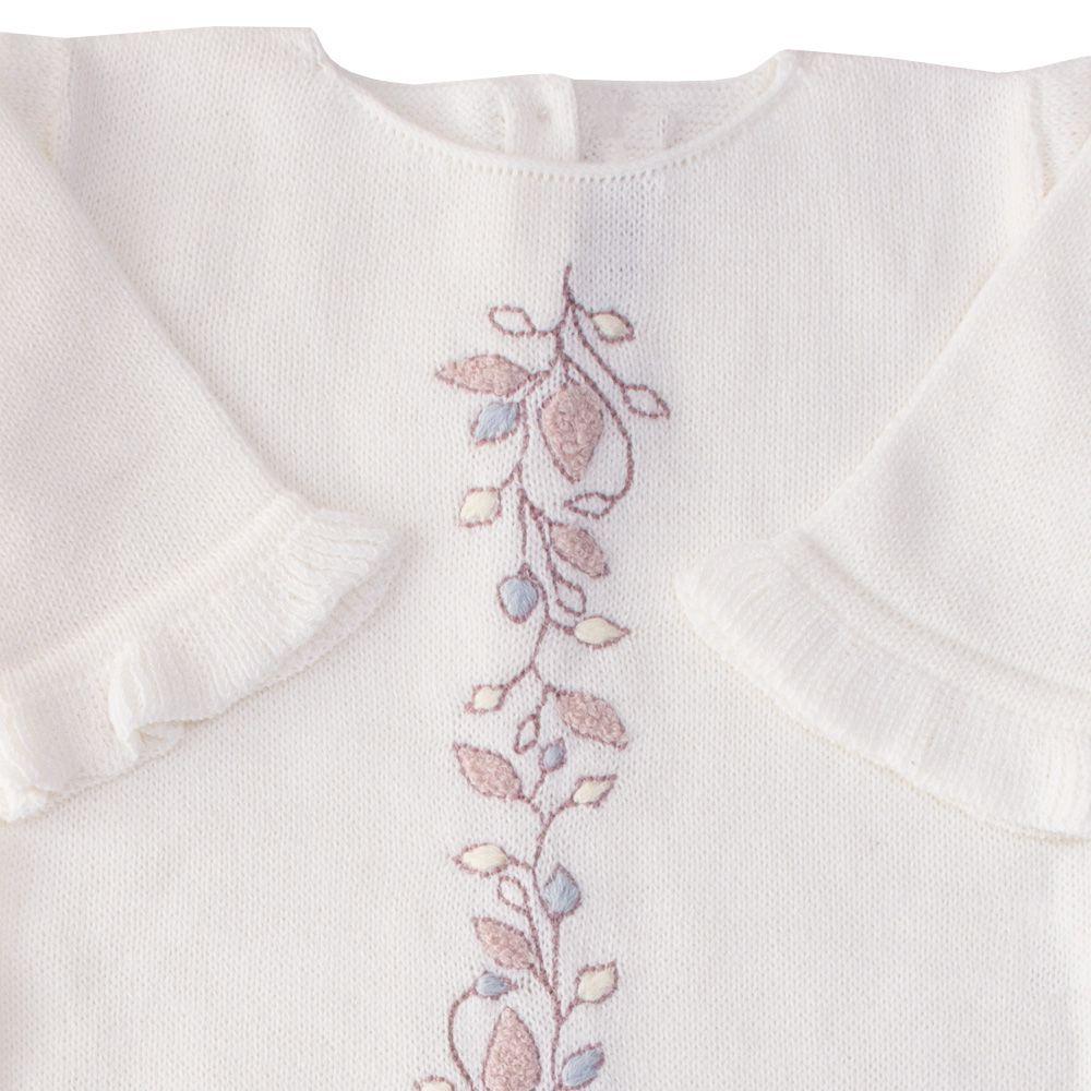 Macacão bebê flor central - Off white