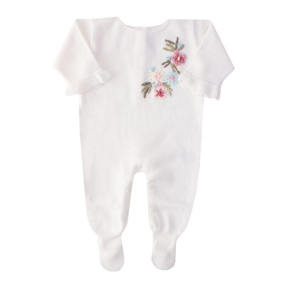 Macacão bebê flor lateral - Off white