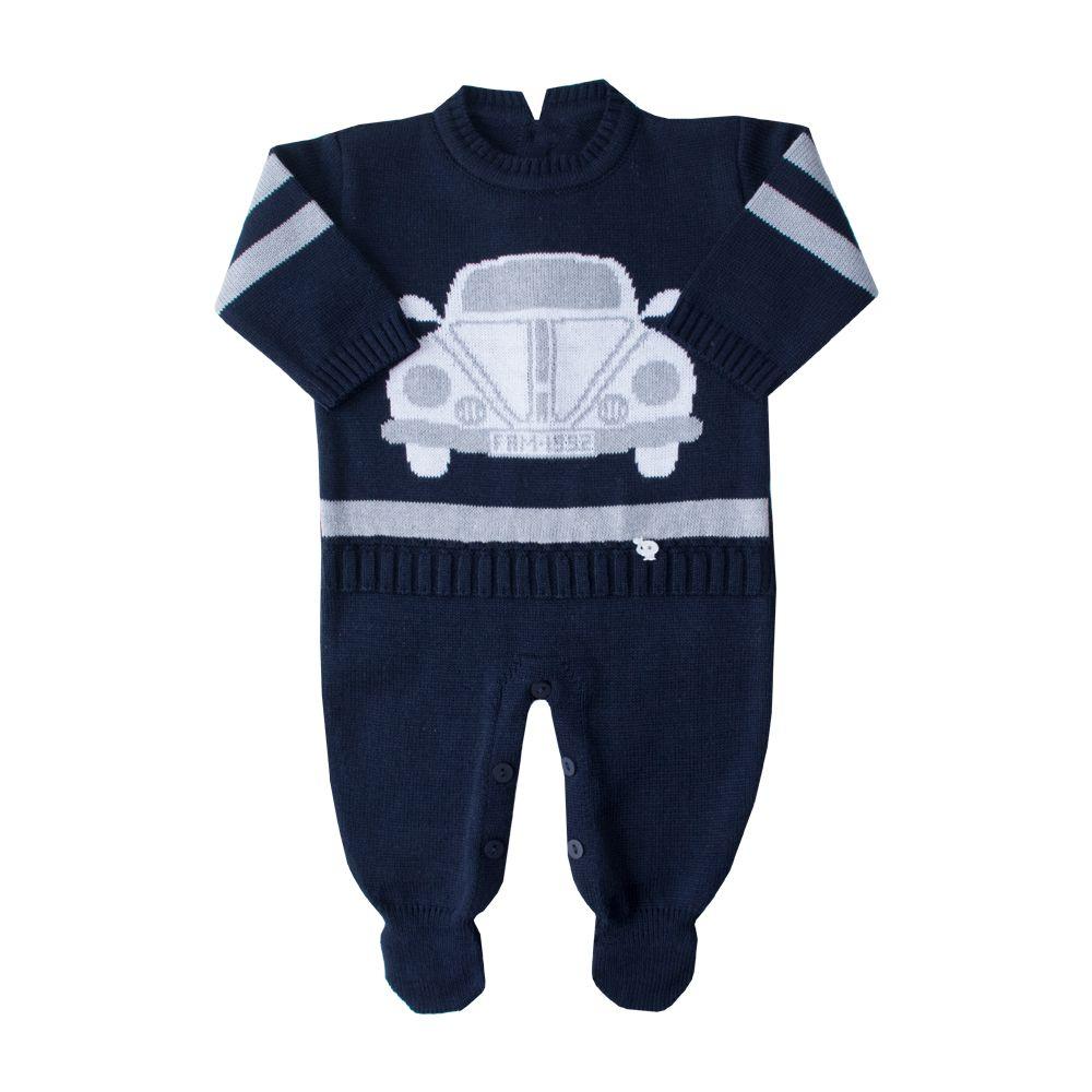 Macacão bebê fusca - Azul profundo