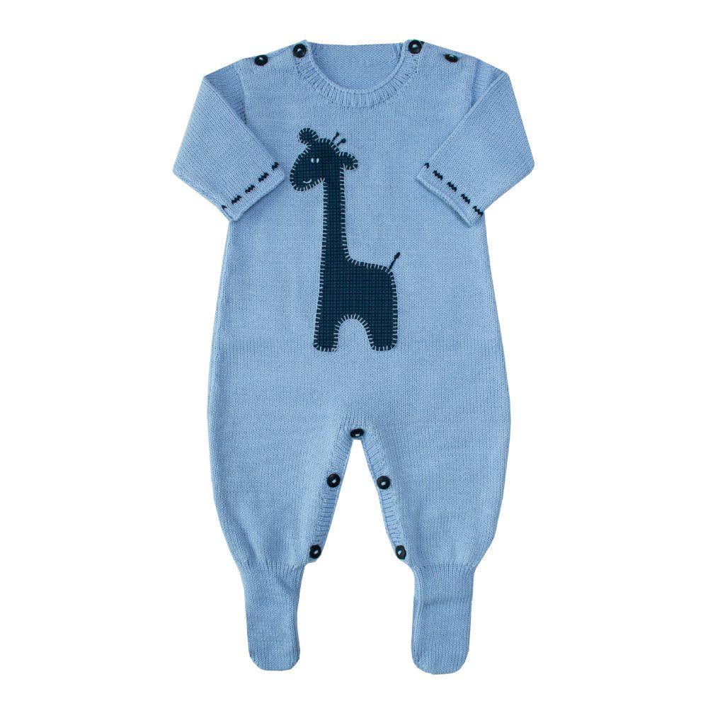Macacão bebê girafa - Azul