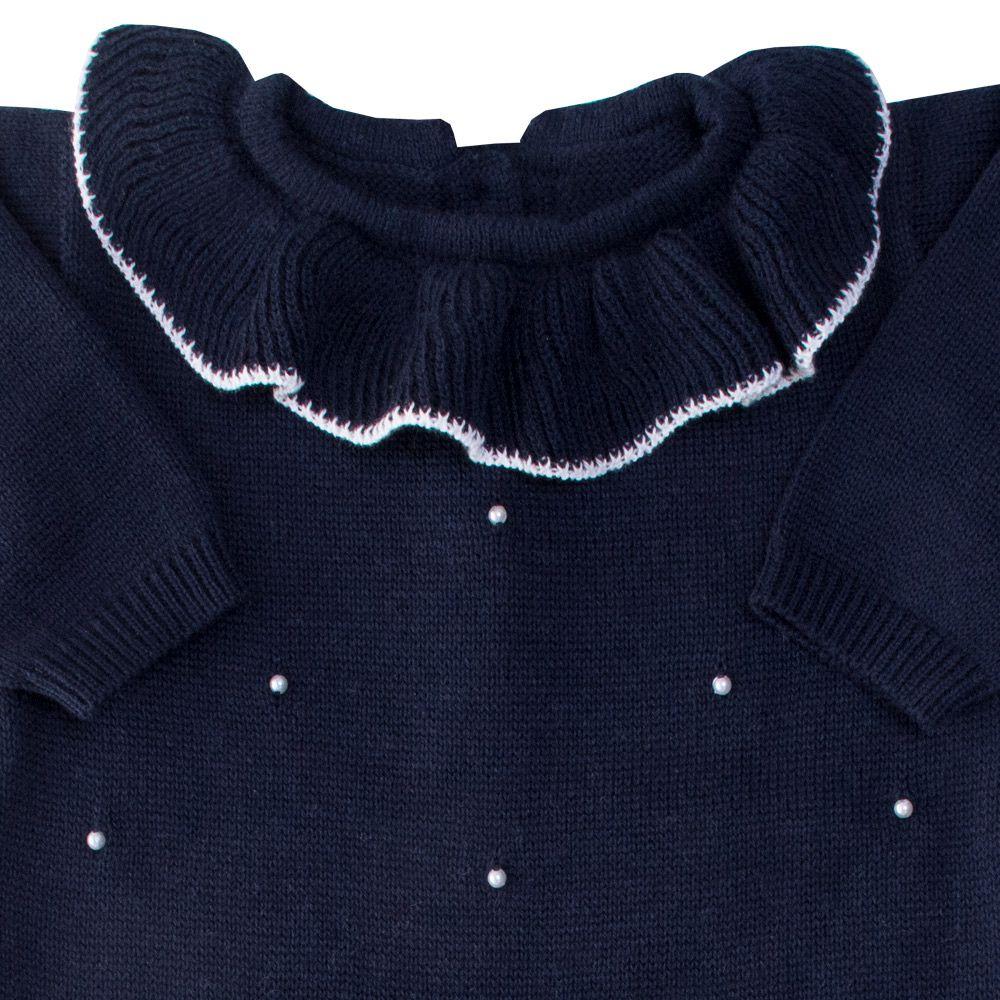 Macacão bebê gola babado - Azul profundo