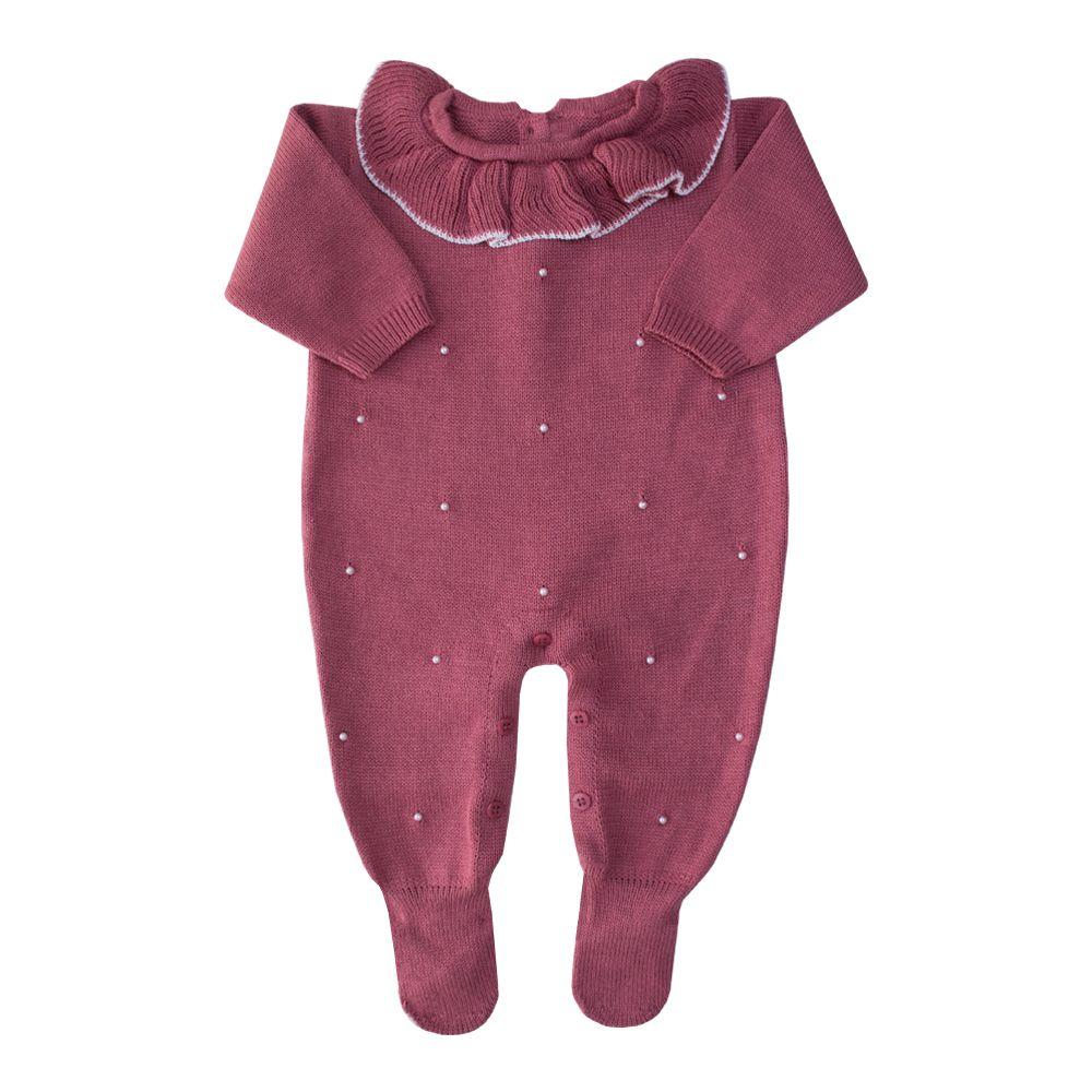 Macacão bebê gola babado - Rosa cravo