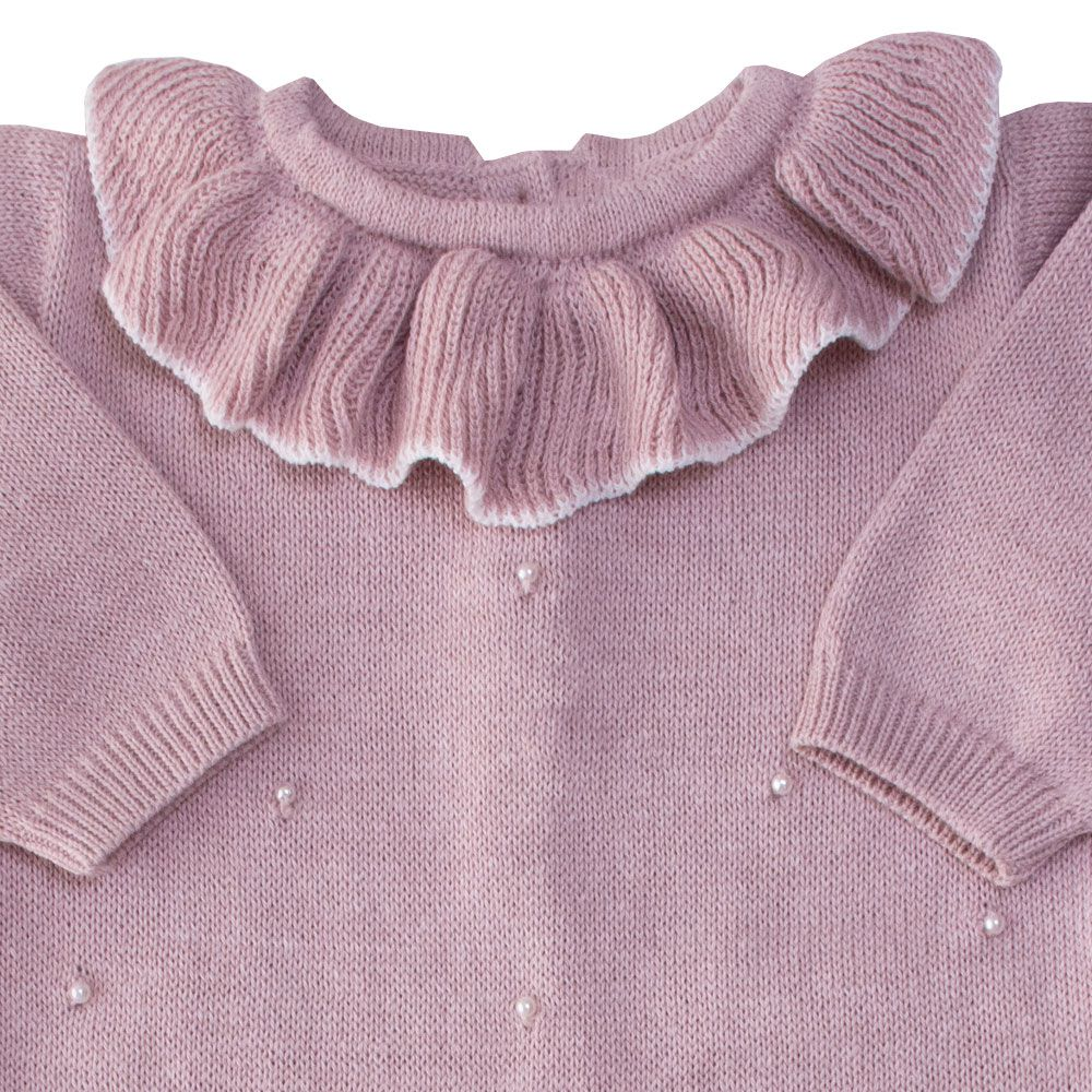 Macacão bebê gola babado - Rosa pó
