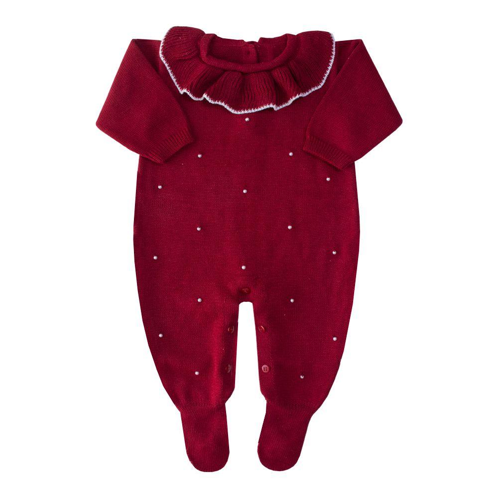 Macacão bebê gola babado - Vermelho red night