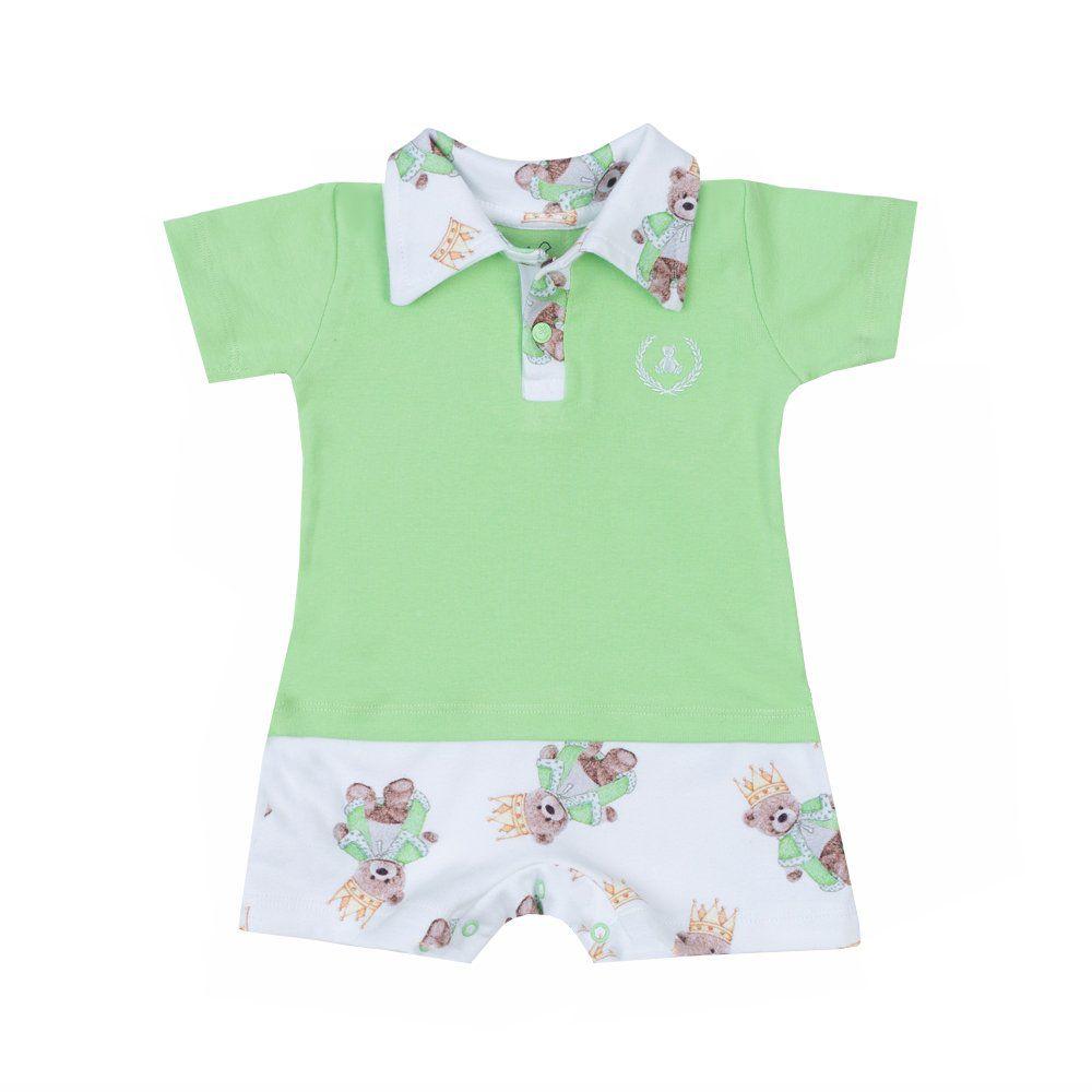 Macaquinho bebê golo polo ursinho - Branco e verde