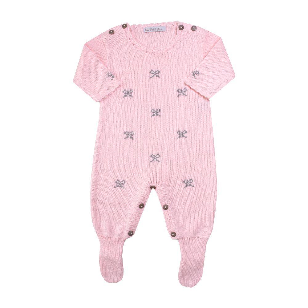Macacão bebê lacinho - Rosa e cinza