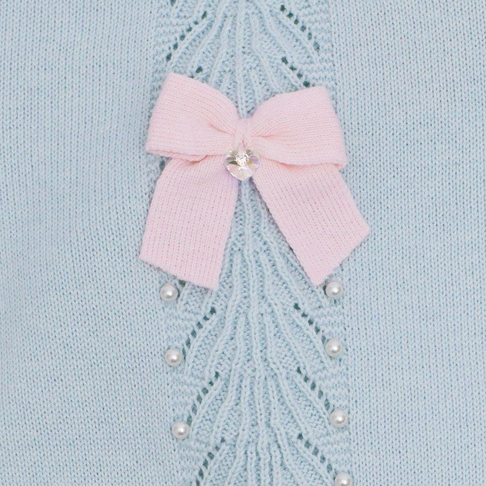 Macacão bebê leque com cristais swarovski - Azul pó