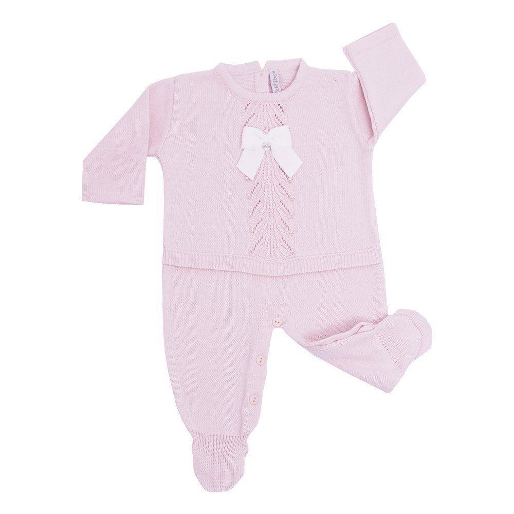 2fee973f0 Saída de maternidade feminina macacão - Rosa bebê - Petit Pois Enfant ...