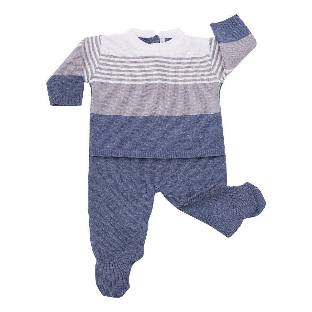 Macacão bebê listrado - Cinza e Jeans
