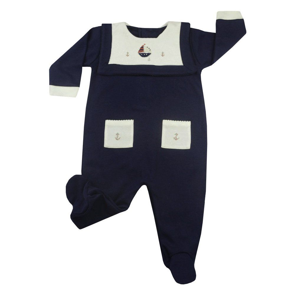 Macacão bebê manga longa com pé - Azul marinho