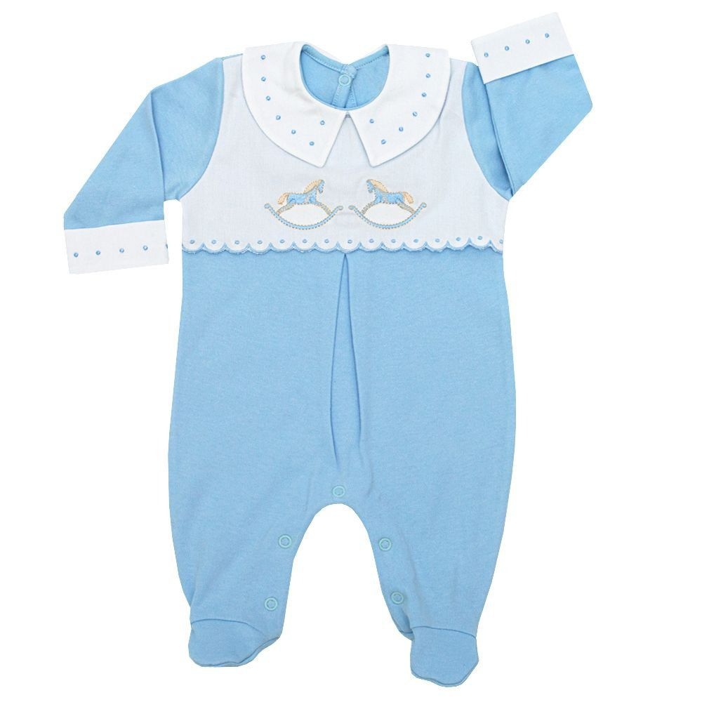 Macacão bebê masculino cavalinho - Azul bebê