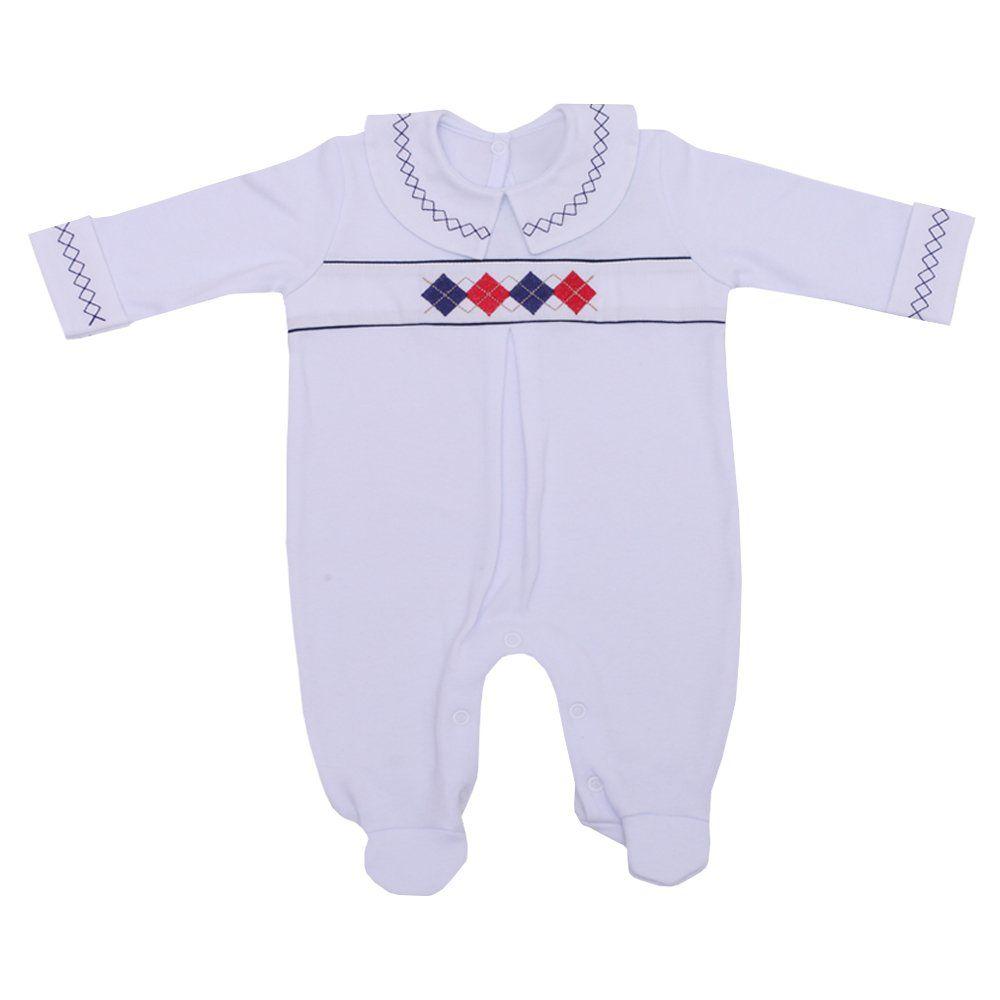 Macacão bebê masculino escócia - Branco