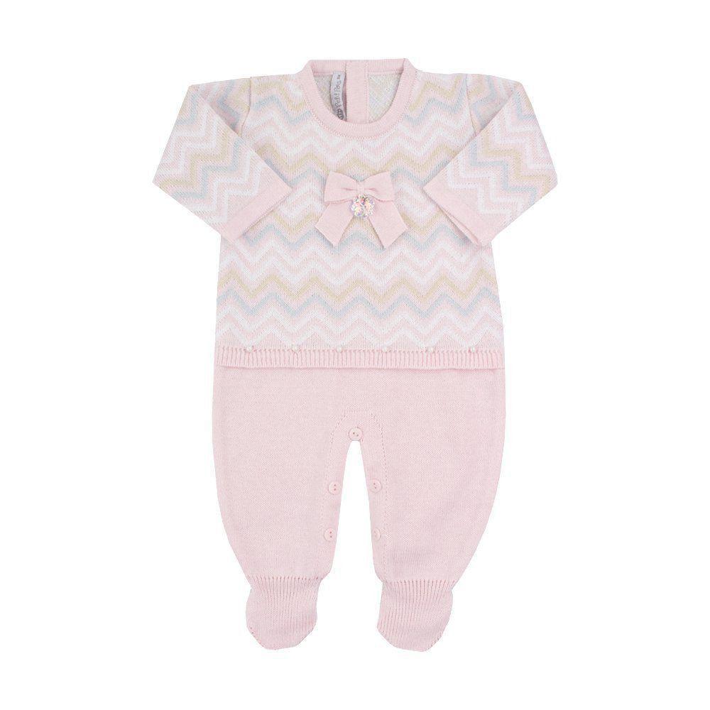 Macacão bebê missone com cristais swarovski - Rosa pó
