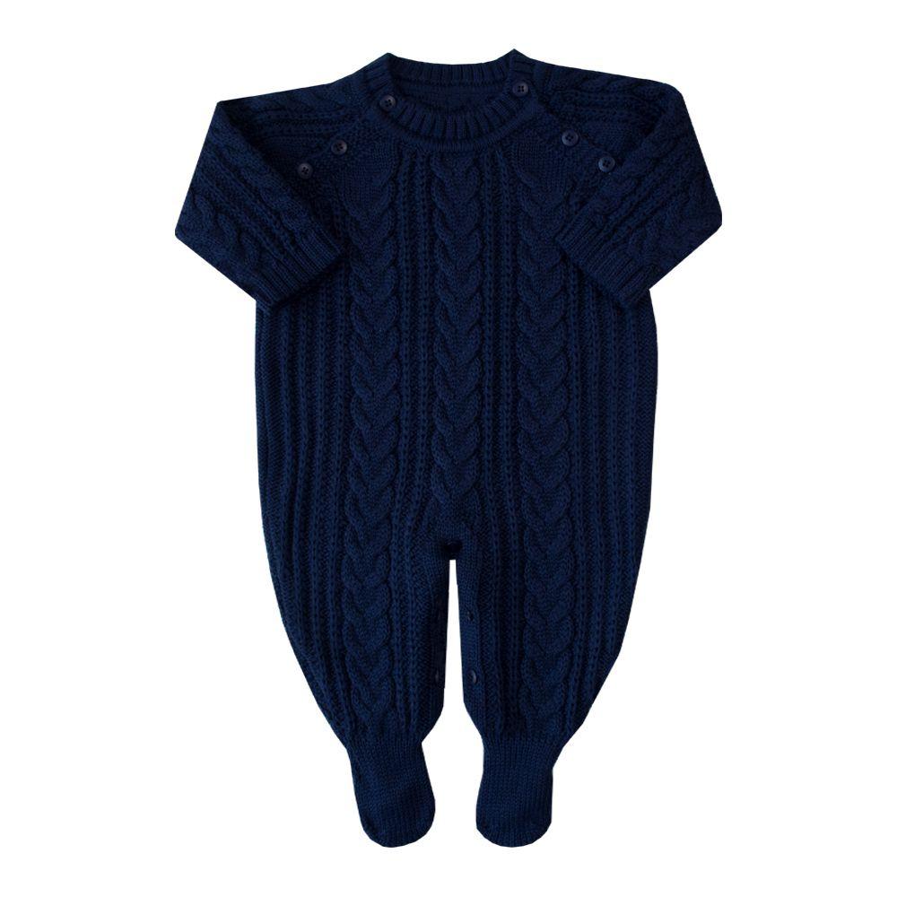 Macacão bebê trança fofa - Azul marinho