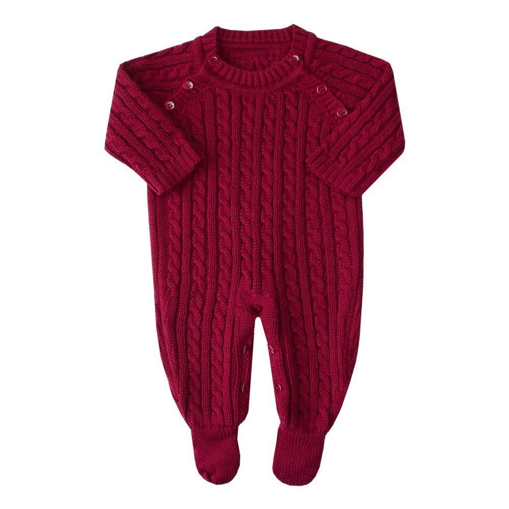 Macacão bebê todo trança - Vermelho red night