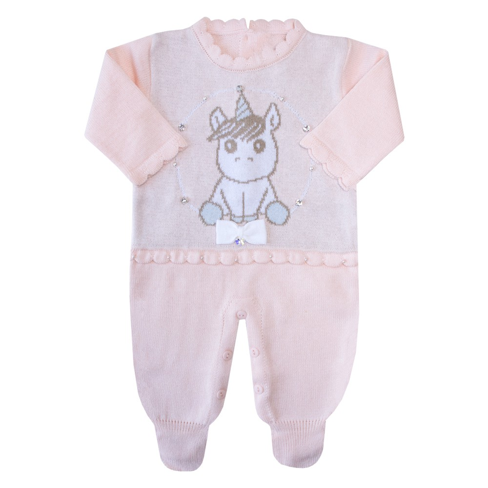 Macacão bebê unicórnio - Rosa pó