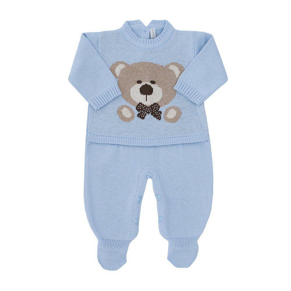Macacão bebê urso - Azul