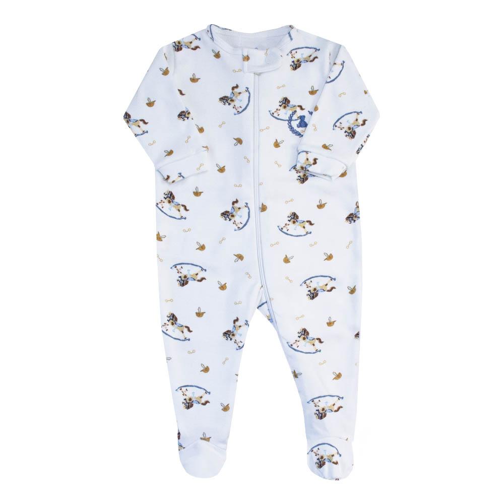 Macacão bebê zíper e pé cavalinho - Branco