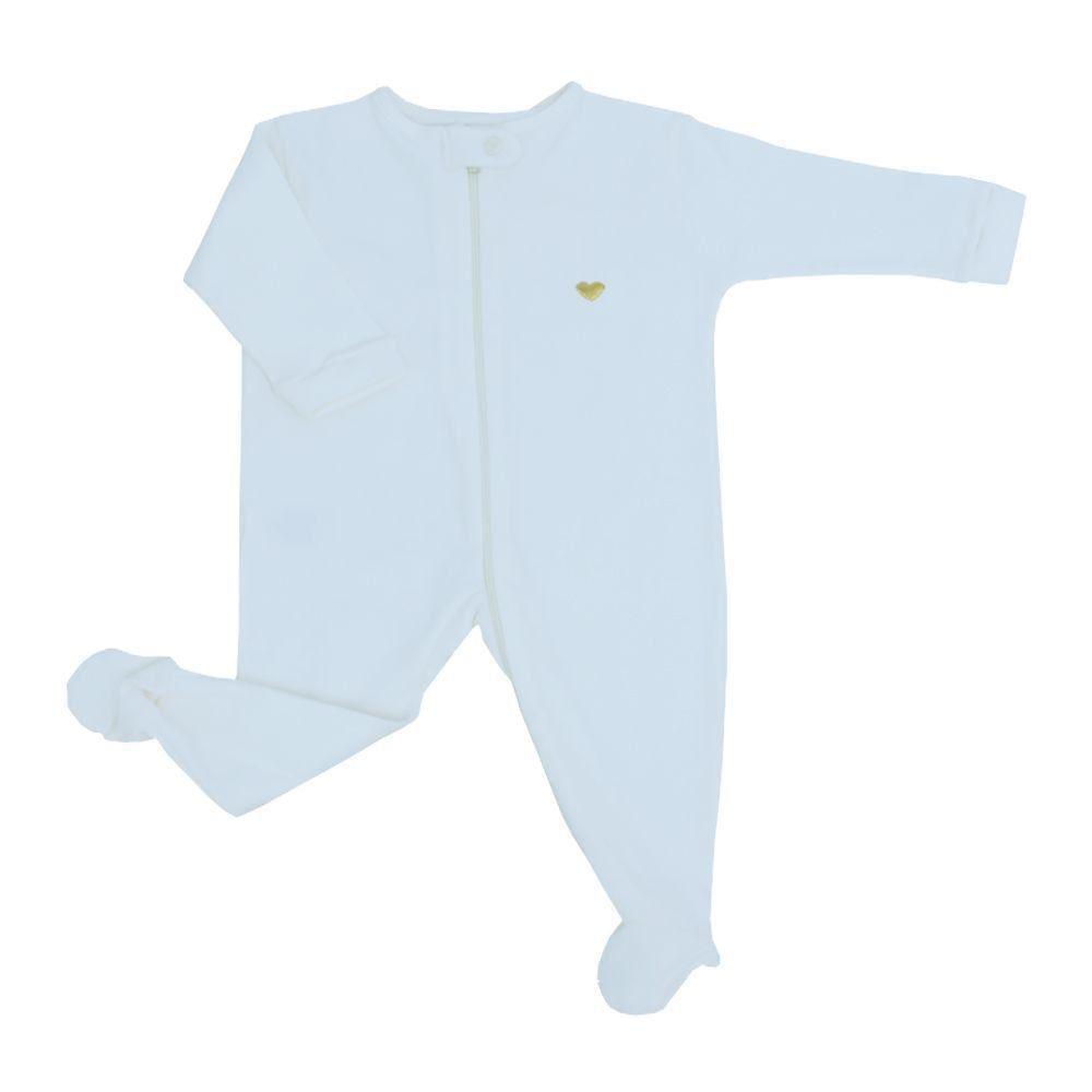 Macacão bebê com zíper - Off white