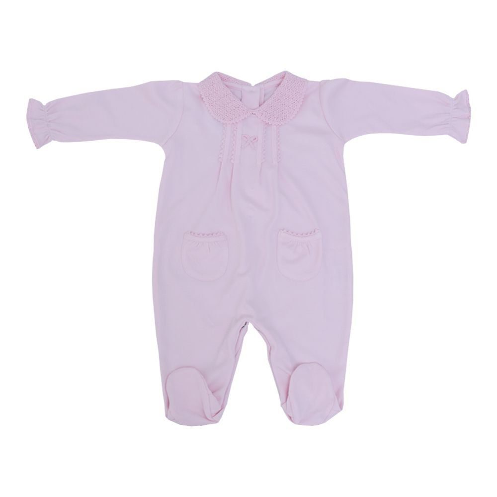 Macacão manga longa com pé - Rosa bebê