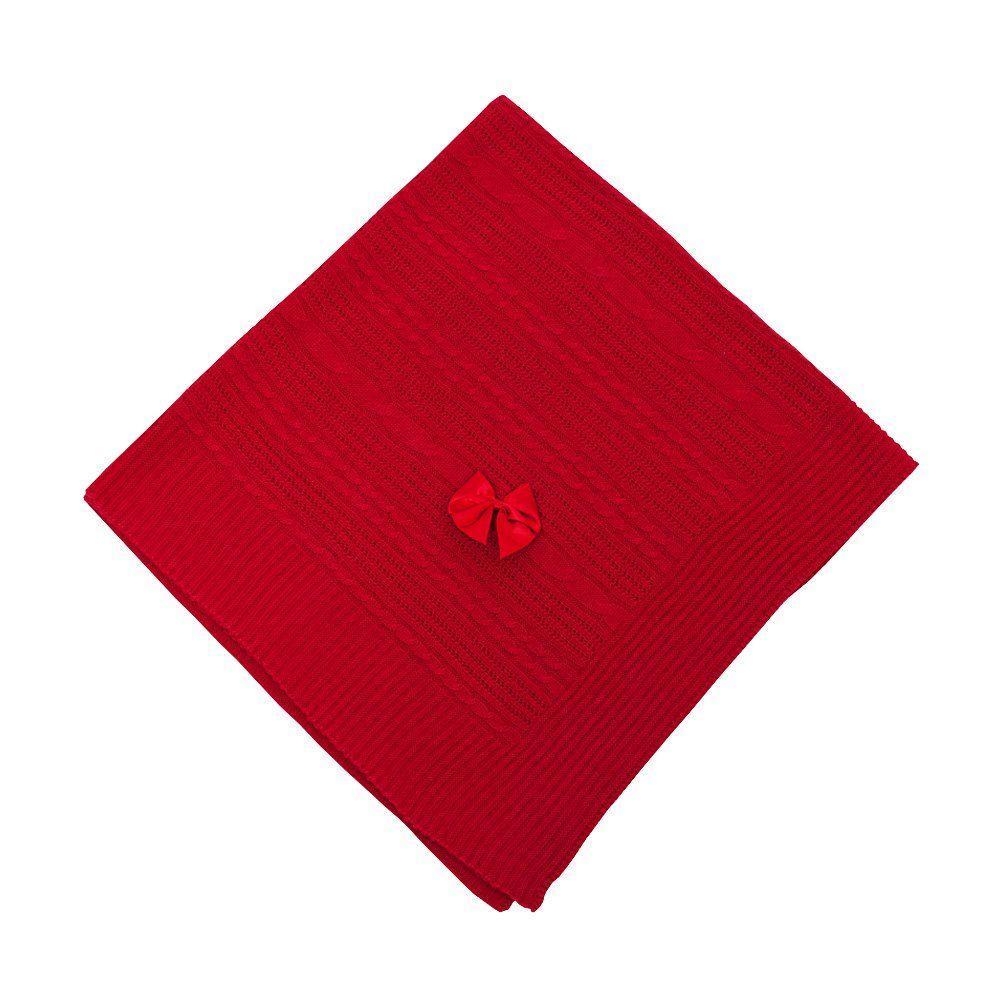 Manta bebê em tricot - Vermelho