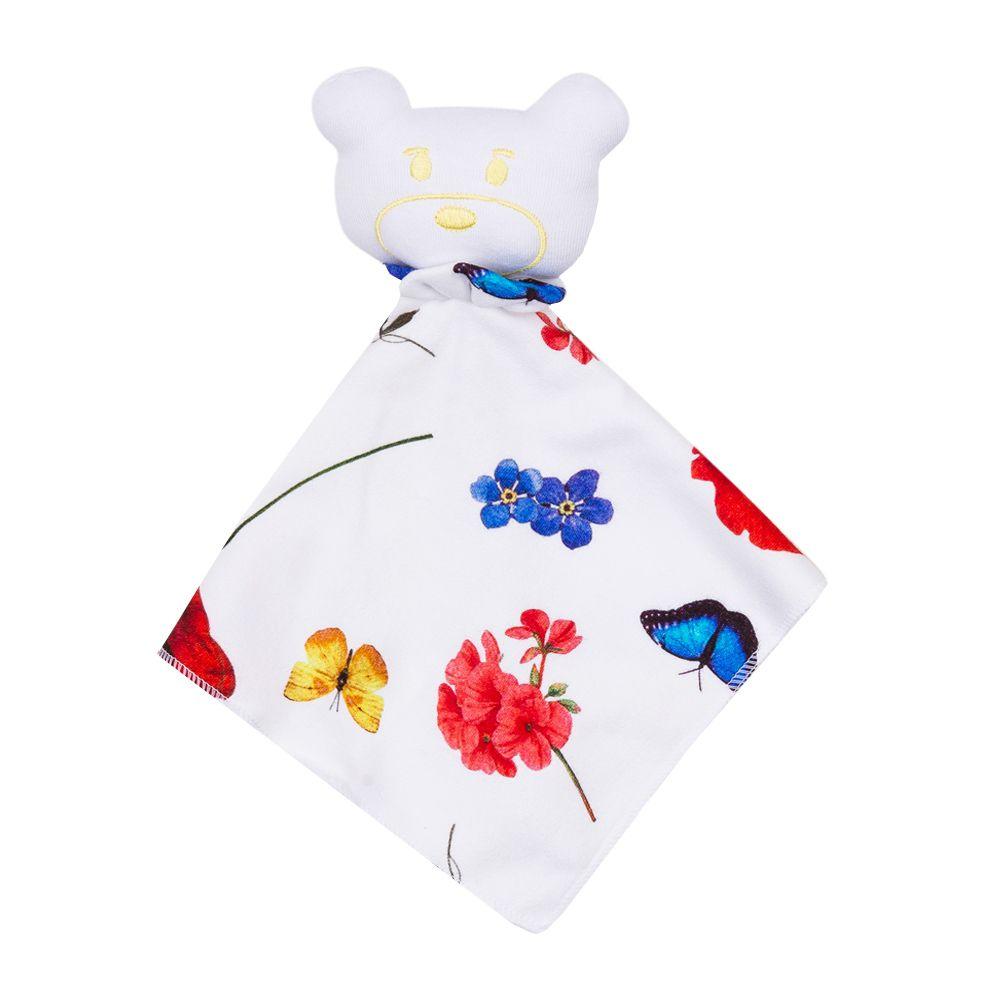 Naninha bebê floral com borboleta - Branco