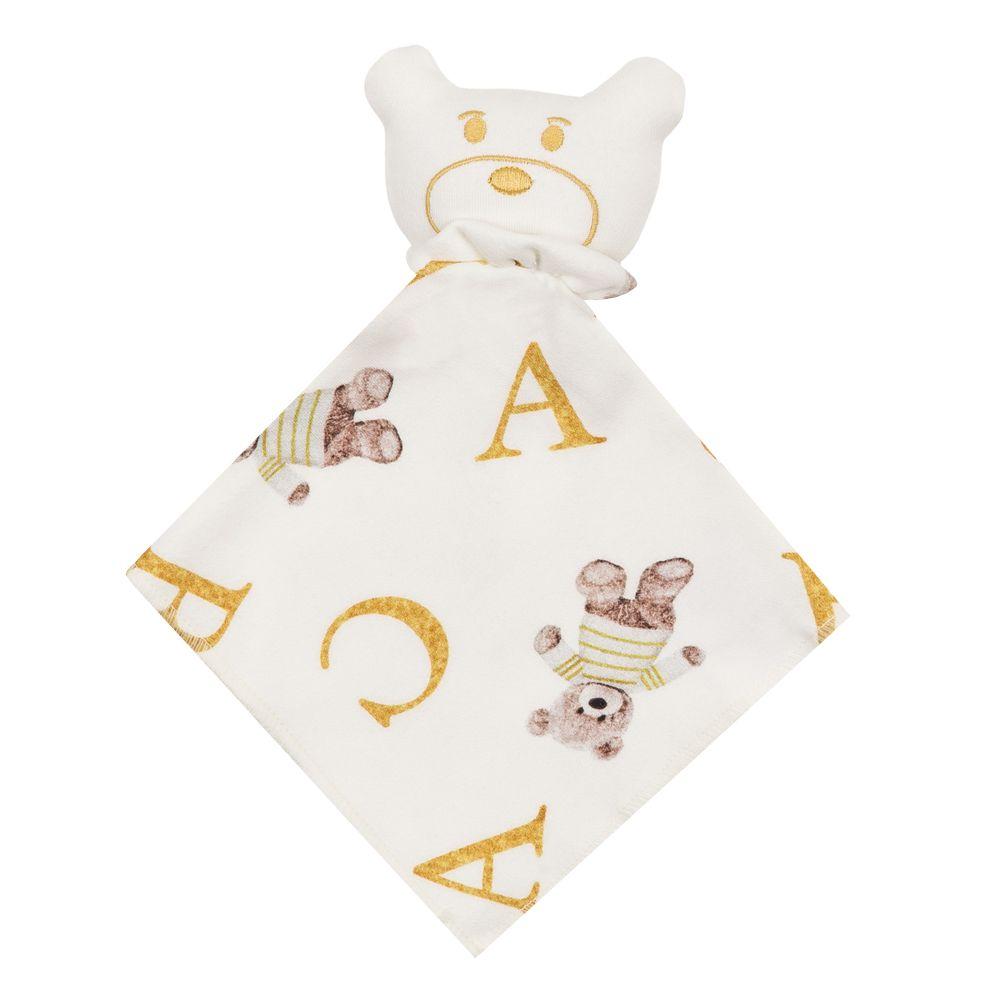 Naninha bebê ursinho ABC - Off white e dourado