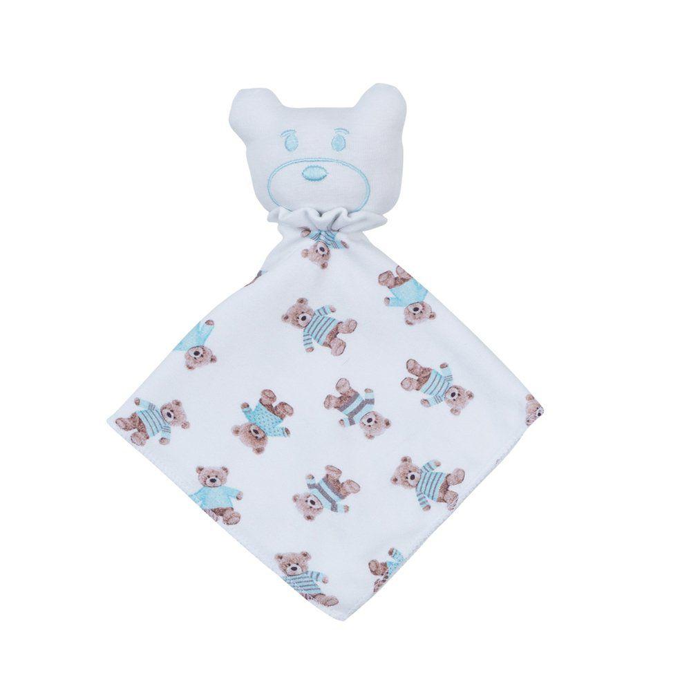 Naninha bebê ursinho - Branco e azul bebê