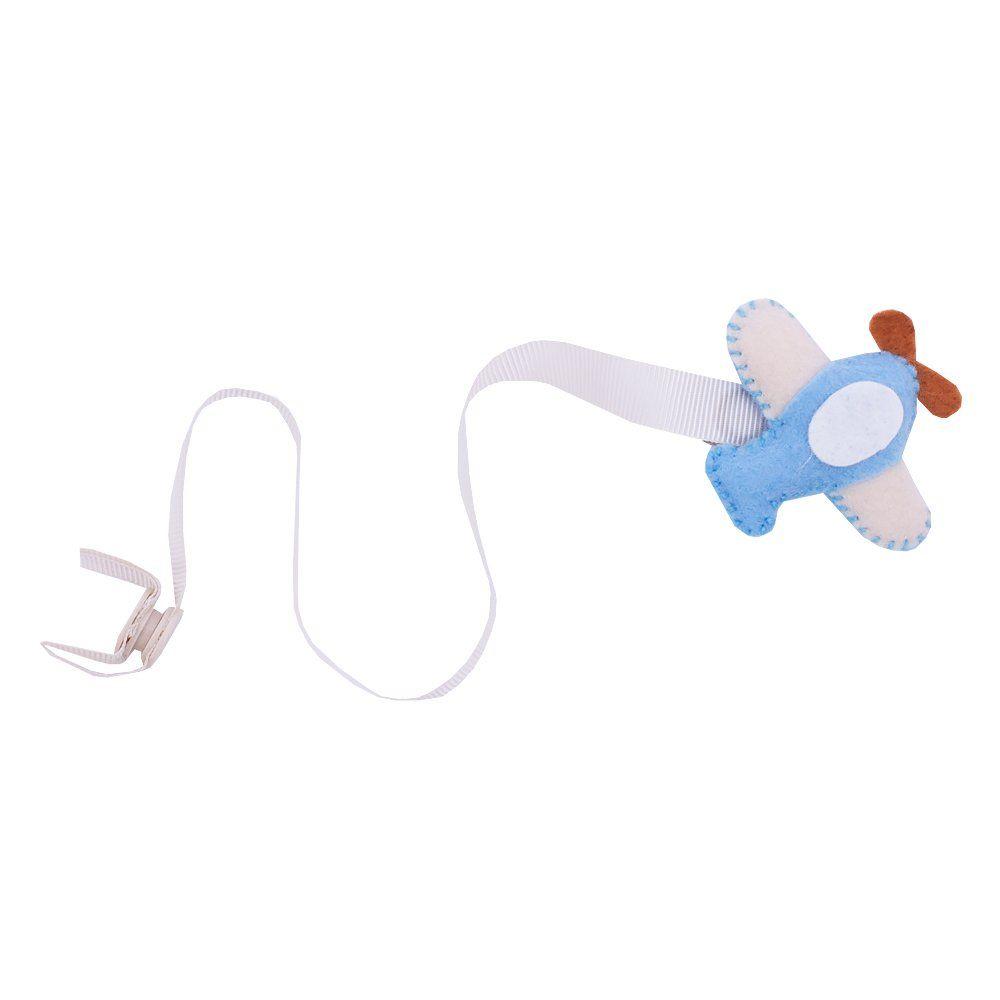 Prendedor de chupeta avião - Azul bebê e marfim