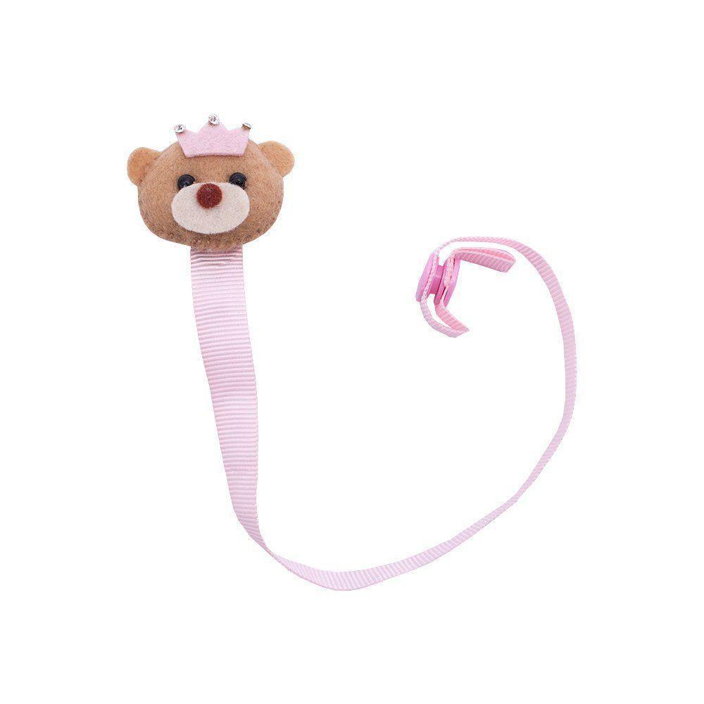 Prendedor de chupeta ursinha coroa - Rosa bebê