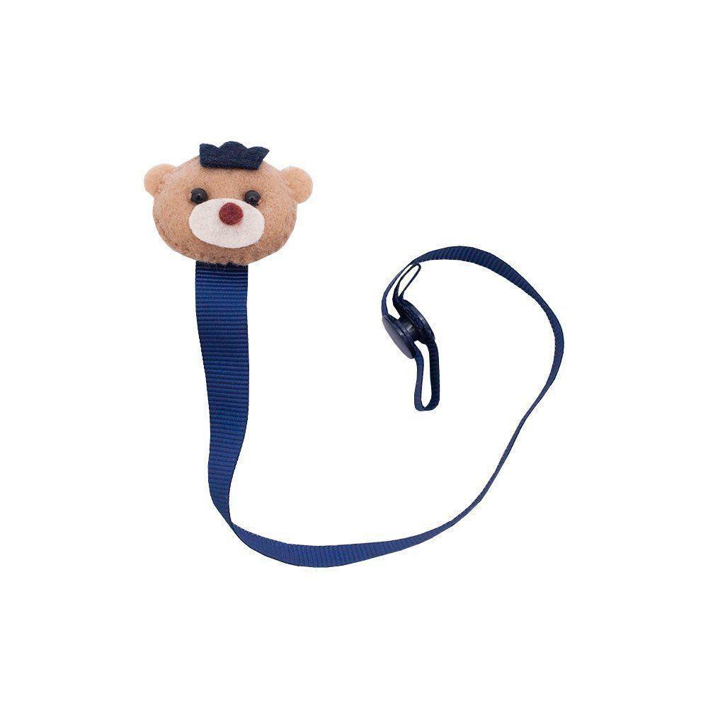 Prendedor de chupeta ursinho com coroa - Azul marinho