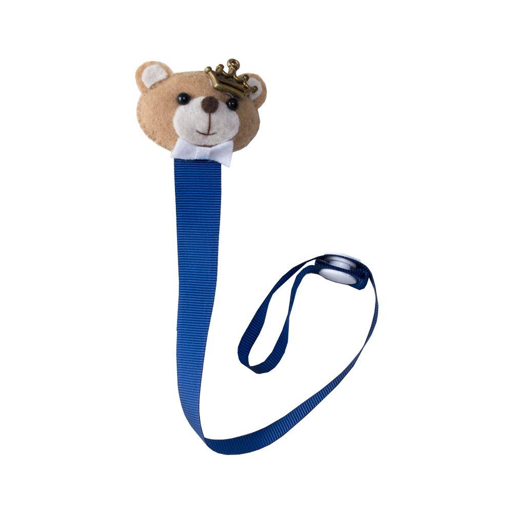 Prendedor de chupeta urso com coroa - Azul marinho