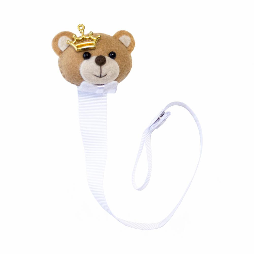 Prendedor de chupeta urso coroa - Branco