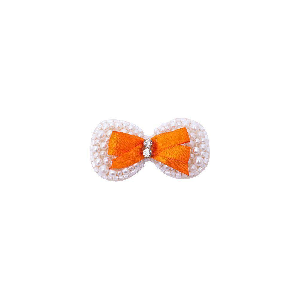 Presilha bebê com laço e pérolas - Marfim e laranja