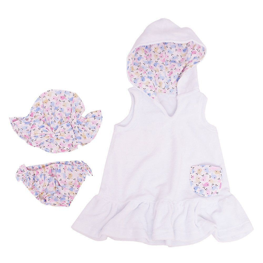Roupão bebê com banho de sol 3 peças - Branco