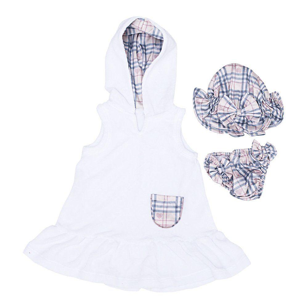 Roupão bebê com moda praia 3 peças - Branco