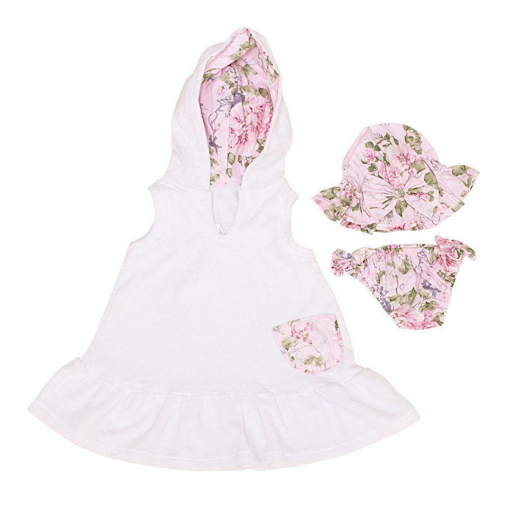 Moda praia bebê floral 3 peças - Branco/Rosa bebê